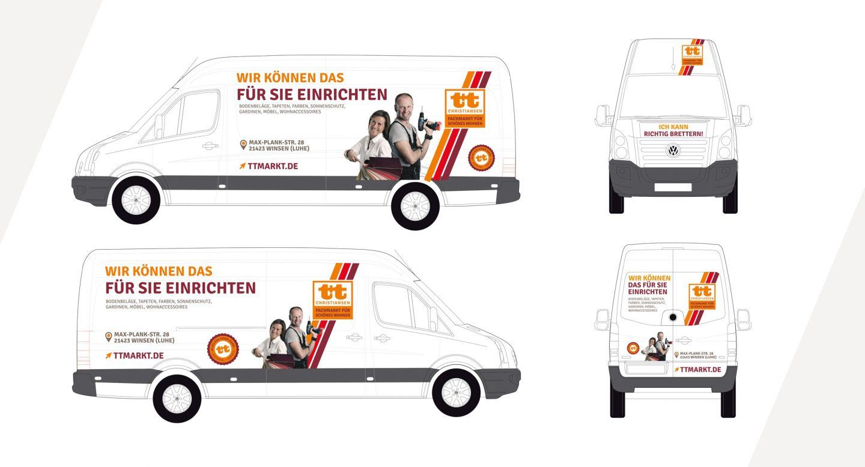 Steffen und Bach Projekte - t+t Markt Lieferwagen Beschriftung