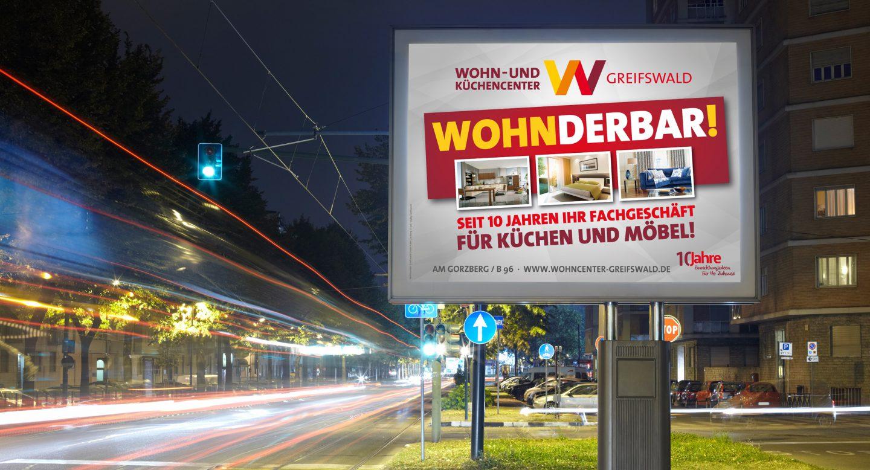 Steffen und Bach Projekte - Wohncenter Greifswald Außenwerbung